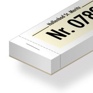 Doppelnummer-Blöckli, farbig auf weissem Papier mit Logo